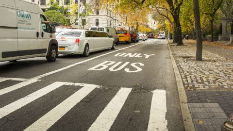 72722340 - new york, usa, november 2016: bus lane in new york near central park