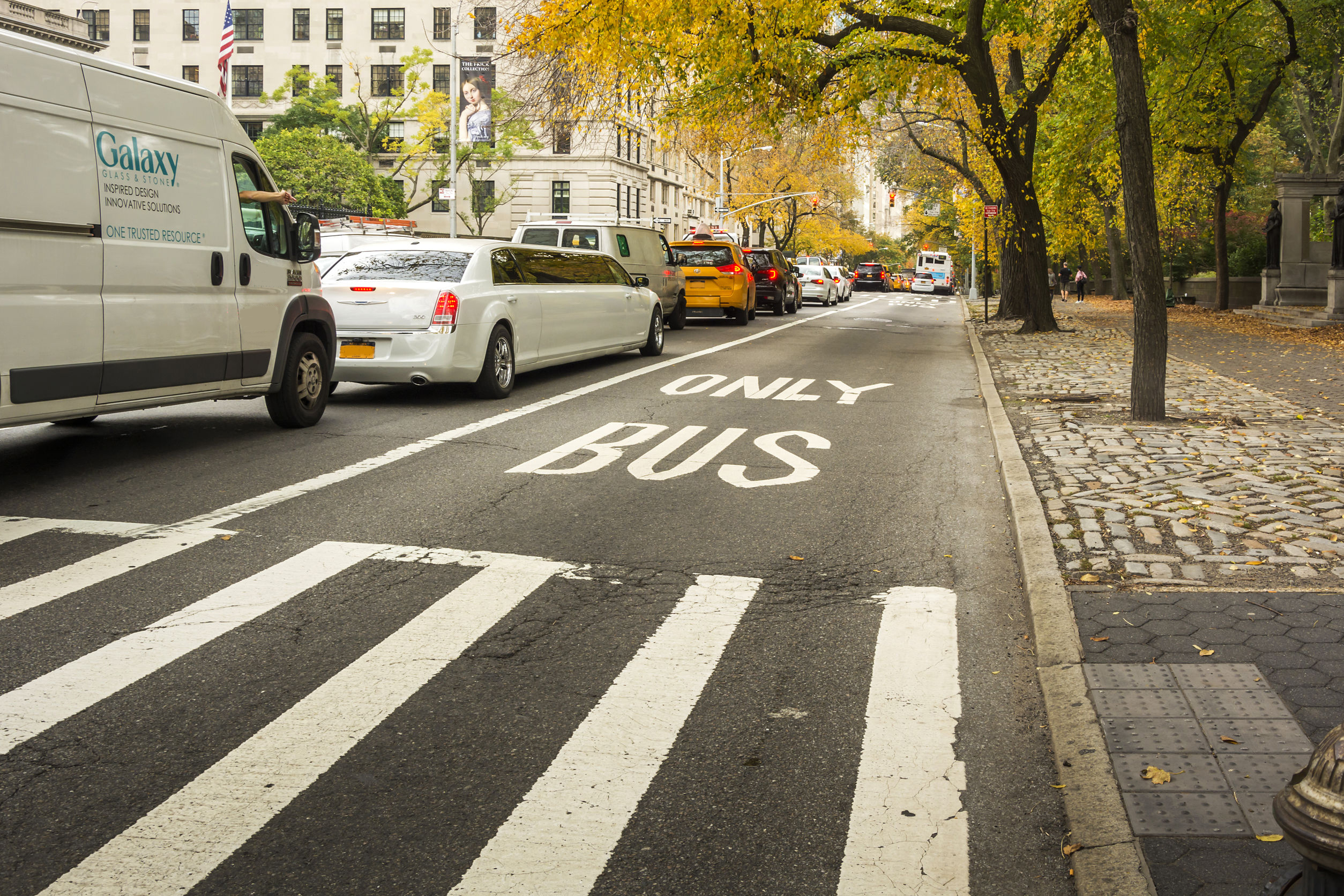 72722340 - new york, usa, november 2016: bus lane in new york near central park